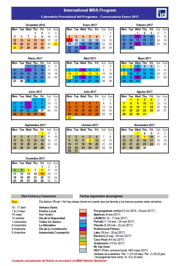 IMBA calendar